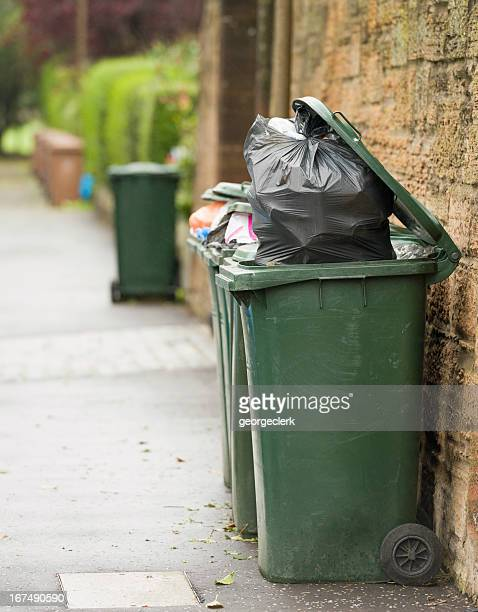 bin collection day - garbage can stock photos and pictures