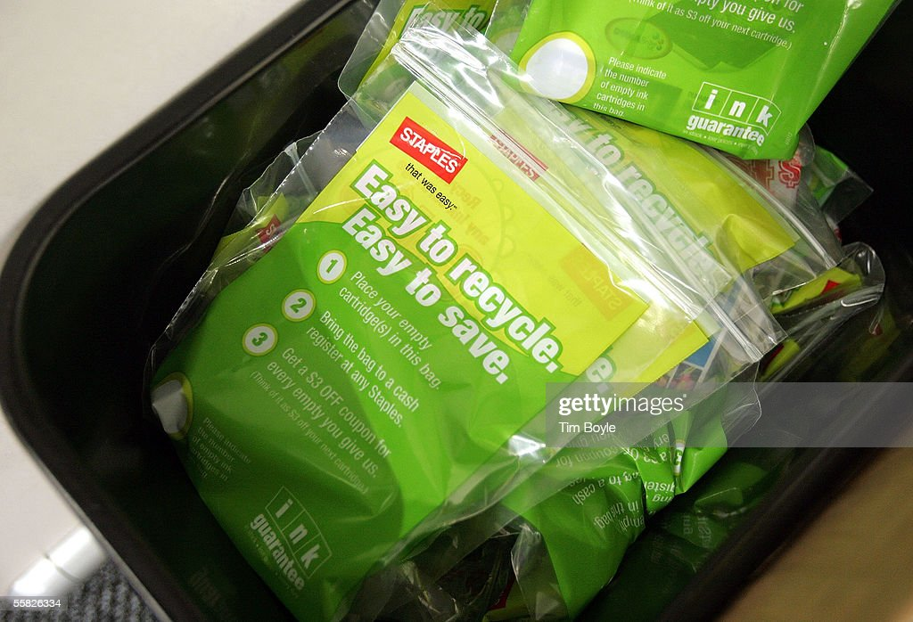 A bin contains used printer-ink cartridges in plastic bags inside a Staples store September 29, 2005 in Mount Prospect, Illinois. Staples is the first large chain store to begin recycling discarded electronic items, including old cell phones, pagers, portable handheld devices and used printer-ink cartridges.