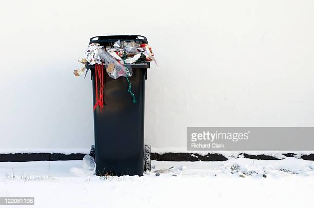 Bin full of Christmas waste
