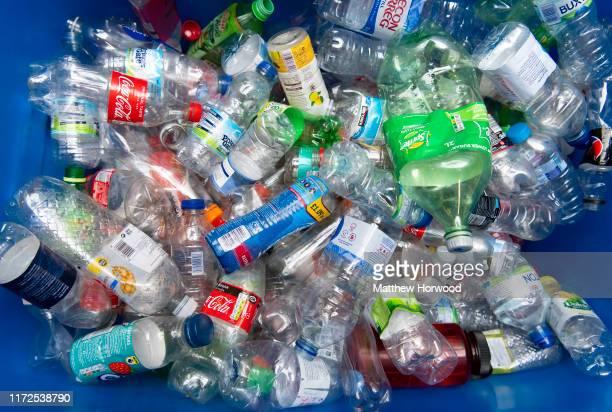 A bin full of plastic bottles on August 10 2019 in Cardiff United Kingdom