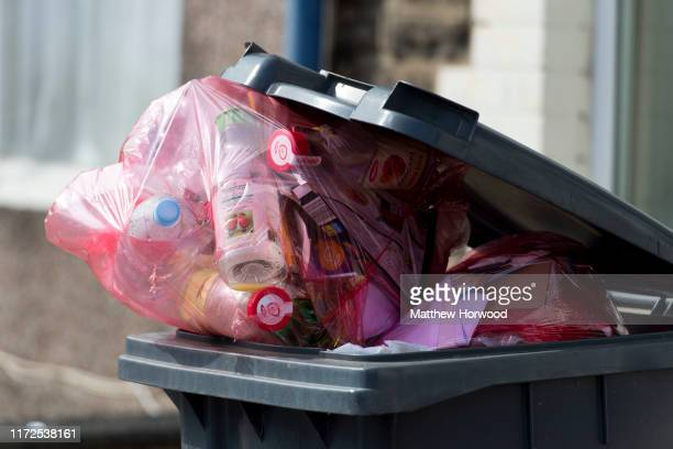 A bin full of plastic recycling bags on September 17 2014 in Cardiff United Kingdom
