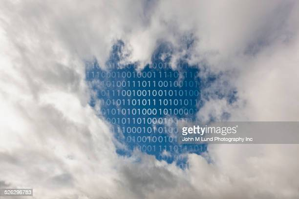 Binary code and clouds in blue sky