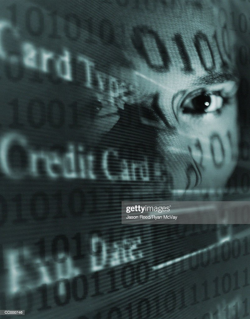 Binary Code and Credit Card on a Man's Face : Stock Photo