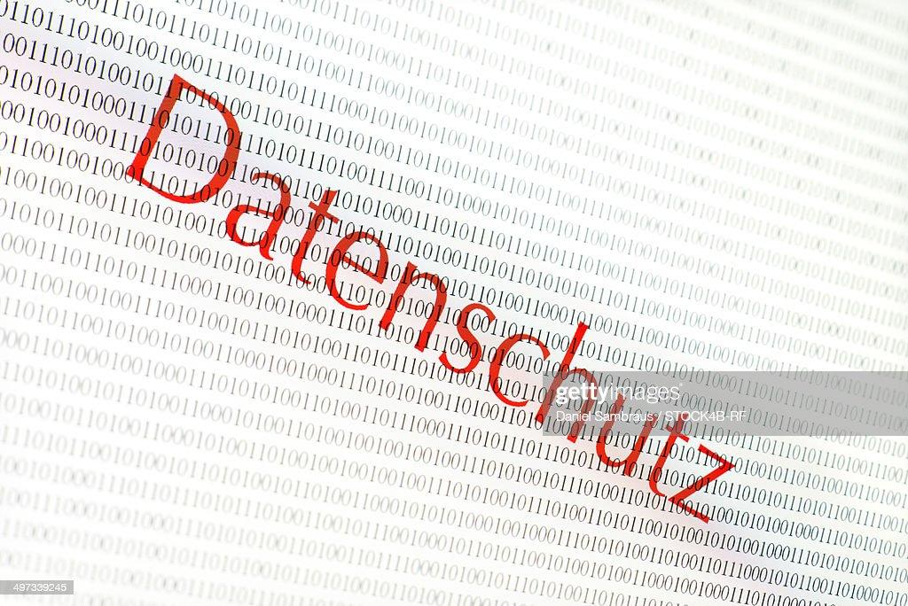 Binary code and word Datenschutz : Stock Photo