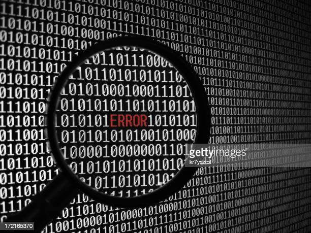 Binary code background with error magnified