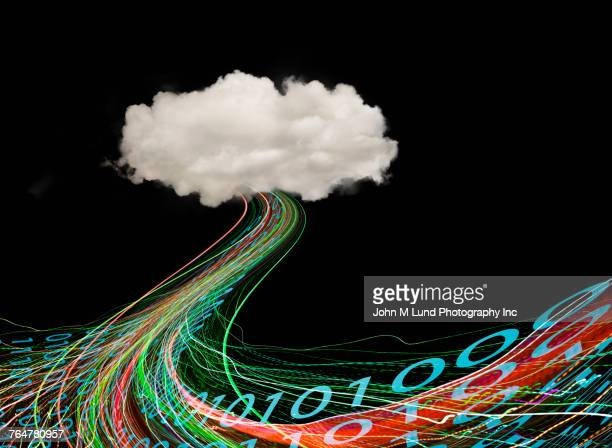 binary code flowing from cloud - data flow stock photos and pictures