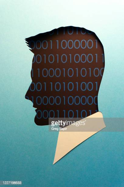binary code human head illustration - greg bajor stock pictures, royalty-free photos & images
