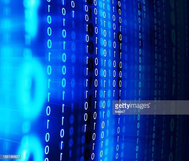 binary code on monitor screen