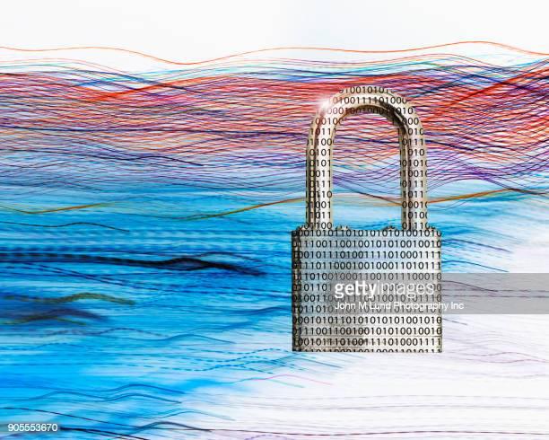 Binary code padlock in multicolor waves of light