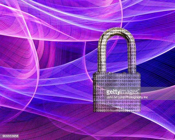 Binary code padlock in purple waves of light