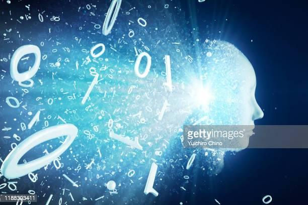binary code transforming ai robot face - 人工知能 ストックフォトと画像
