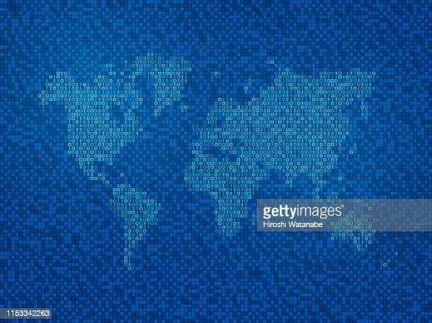 binary code world map - big data world stock pictures, royalty-free photos & images