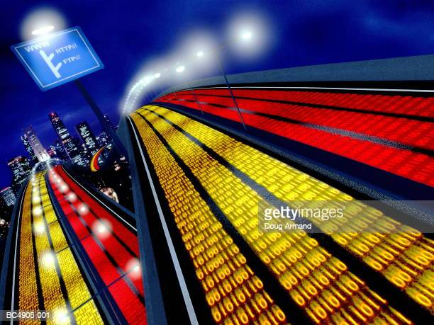 binary numbers on motorway, city in background (digital composite) - binary code stock pictures, royalty-free photos & images