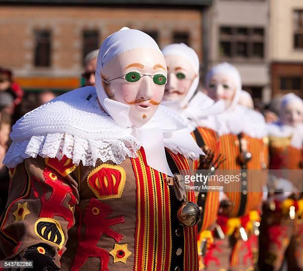 Binche, Hainaut, Belgium, March 8; 2011. -- Some Gille de Binche, parade during the famous carnival of Binche's traditional carnival on Mardi Gras...