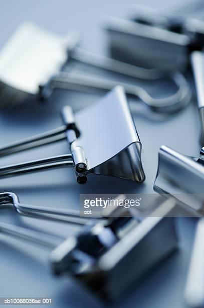 Binder clips, close up, studio shot