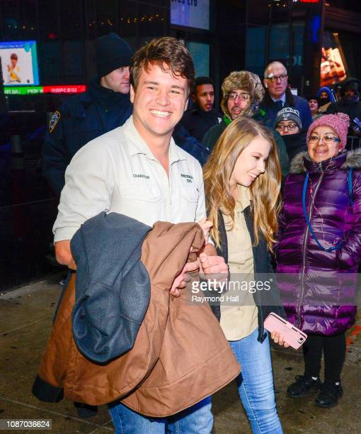 Bindi Irwin and Chandler Powell are seen outside Good Morning America on January 23, 2019 in New York City.