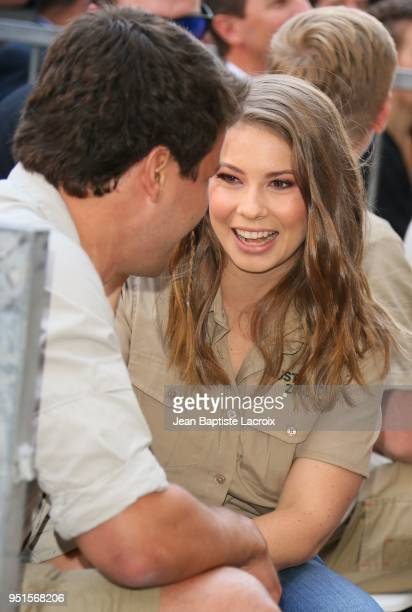 Bindi Irwin and Chandler Powell attend a ceremony honoring Steve Irwin with a star on The Hollywood Walk of Fame on April 26, 2018 in Los Angeles,...