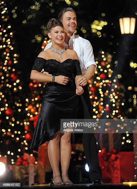 Bindi Irwin and Derek Hough attend ABC's 'Dancing With The Stars' Season Finale hosted by The Grove at The Grove on November 24 2015 in Los Angeles...