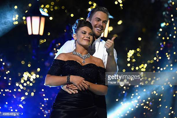 Bindi Irwin and Derek Hough on stage at ABC's Dancing With The Stars Live Finale at The Grove on November 24 2015 in Los Angeles California