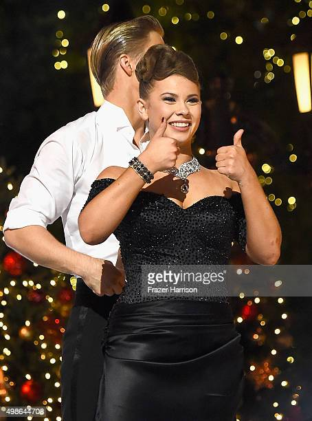 Bindi Irwin and Derek Hough on stage at ABC's 'Dancing With The Stars' Live Finale at The Grove on November 24 2015 in Los Angeles California