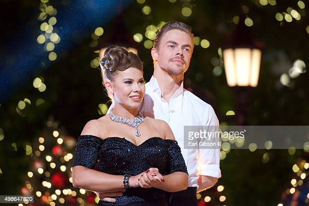"""Bindi Irwin and Derke Hough share a moment at ABC's """"Dancing With The Stars"""" Live Finale Event at The Grove on November 24, 2015 in Los Angeles,..."""