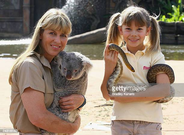 Bindi Irwin and her mother Terri pose during the promotional launch of her upcoming childrens show Bindi The Jungle Girl at Australia Zoo on May 25...