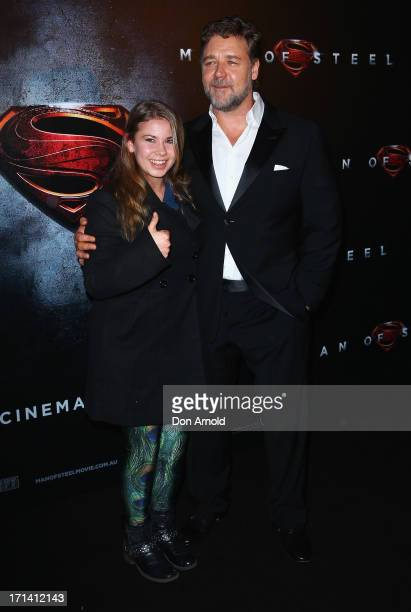 Bindi Irwin and Russell Crowe attend the Man Of Steel Australian Premiere at Event Cinemas George Street on June 24 2013 in Sydney Australia