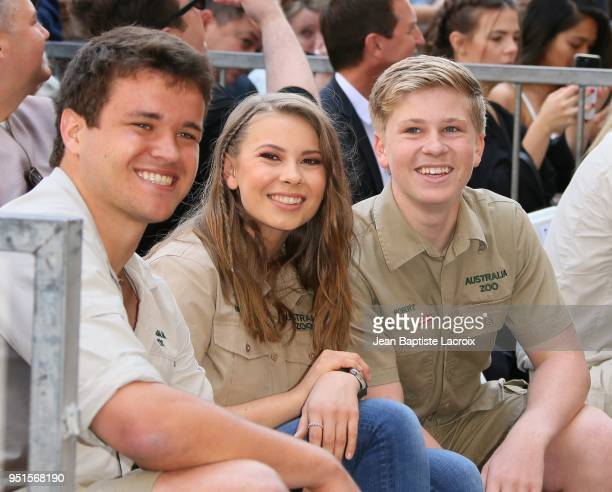 Bindi Irwin, Chandler Powell and Robert Irwin attend a ceremony honoring Steve Irwin with a star on The Hollywood Walk of Fame on April 26, 2018 in...
