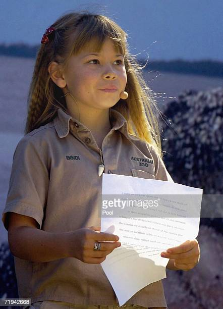 Bindi Irwin, daughter of Australian environmentalist and television personality Steve Irwin reads a eulogy about her father at his memorial service...