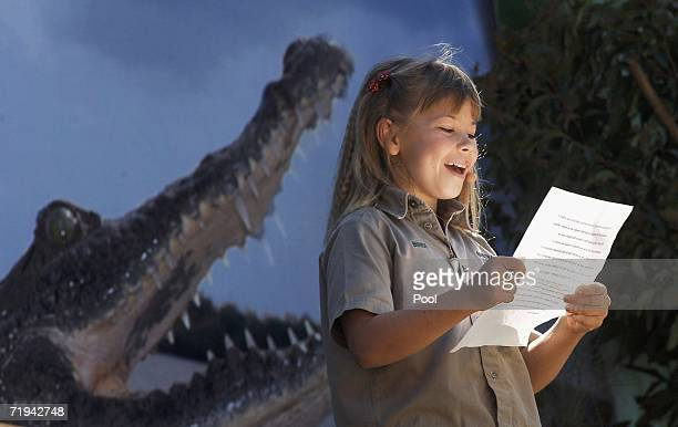 Bindi Irwin, daughter of Australian environmentalist and television personality Steve Irwin reads a tribute to her father during a memorial service...