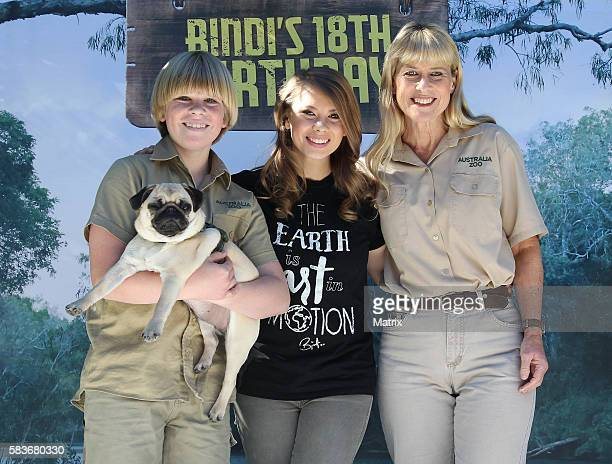 Bindi Irwin pictured at Australia Zoo for her 18th Birthday celebrations along with her mother Terri Irwin brother Robert and her boyfriend Chandler...