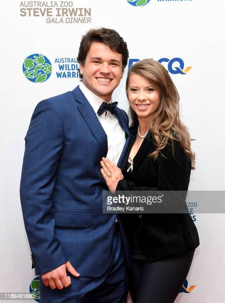 Bindi Irwin poses for a photo with fiance Chandler Powell at the annual Steve Irwin Gala Dinner at Brisbane Convention & Exhibition Centre on...