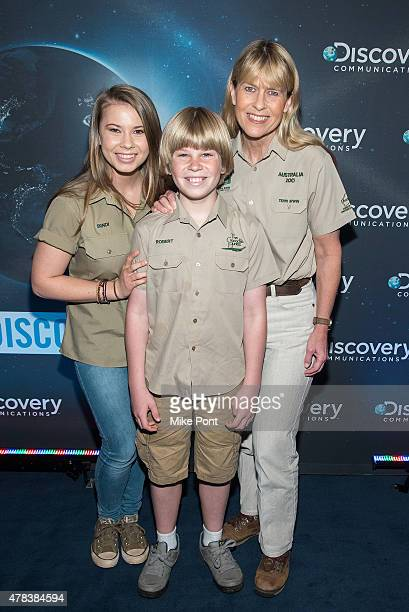 Bindi Irwin Robert Irwin and Terri Irwin attend Discovery's 30th Anniversary Celebration at The Paley Center for Media on June 24 2015 in New York...