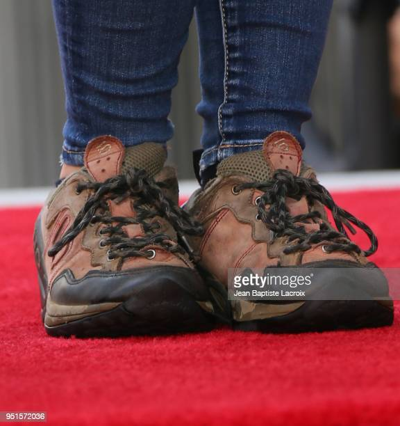Bindi Irwin, shoe details, attends a ceremony honoring Steve Irwin with star on The Hollywood Walk of Fame on April 26, 2018 in Los Angeles,...