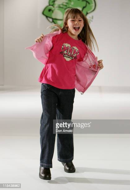 Bindi Irwin walks the catwalk wearing an outfit from Bindi Irwin during the launch of her new ecofriendly children's clothing range at Myer on March...