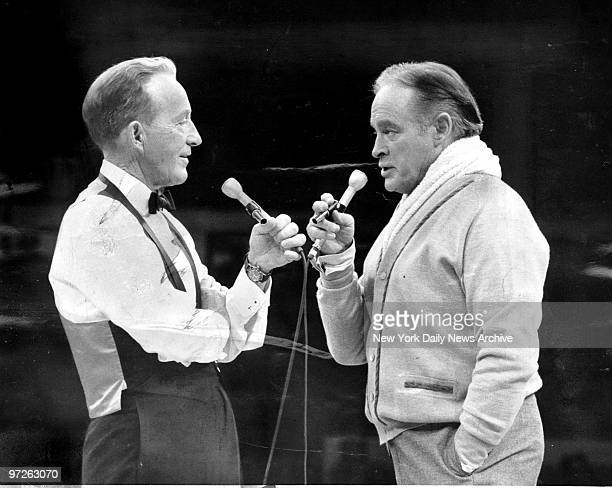Bing Crosby and Bob Hope on stage during rehearsal for USO Show at Madison Square Garden