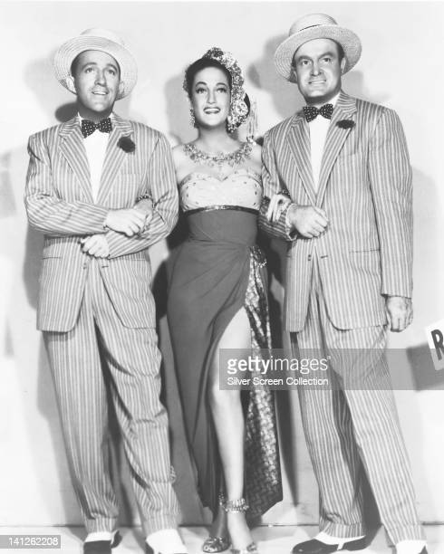 Bing Crosby US actor and singer Dorothy Lamour US actress and Bob Hope British actor and comedian in a publicity portrait issued for the film 'Road...
