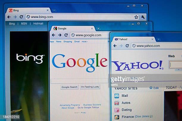 Bing, Google and Yahoo sites on Lcd screen