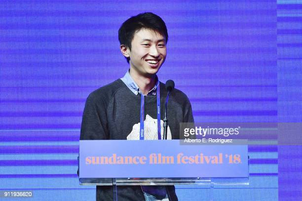 Bing Liu accepts the Special Jury Award for Breakthrough Filmmaking for the film ÒMinding the GapÓ during the Sundance Film Festival Awards Night...