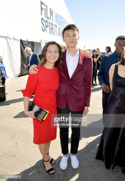 Bing Liu and Diane Quon attend the 2019 Film Independent Spirit Awards on February 23 2019 in Santa Monica California