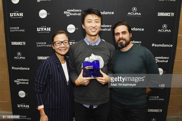 Bing Liu backstage after accepting the Special Jury Award for Breakthrough Filmmaking for the film ÒMinding the GapÓ during the Sundance Film...