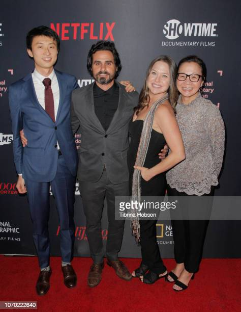 Bing Liu Josh Altman Alison Altman and Diane Quon of 'Minding The Gap' attends the 2018 IDA Documentary Awards on December 8 2018 in Los Angeles...