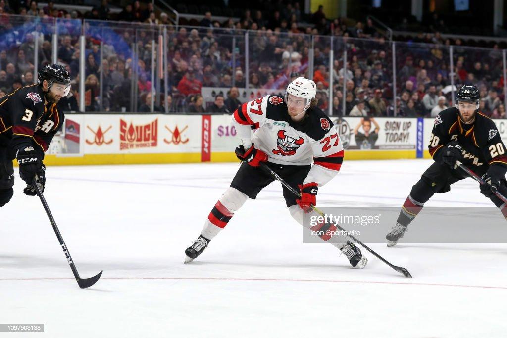 AHL: FEB 10 Binghamton Devils at Cleveland Monsters : Nachrichtenfoto