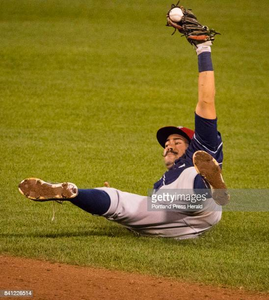 Binghamton Rumble Ponies second baseman Luis Guillorme robs Sea Dogs batter Cole Sturgeon of a base hit during AA baseball action at Hadlock Field in...