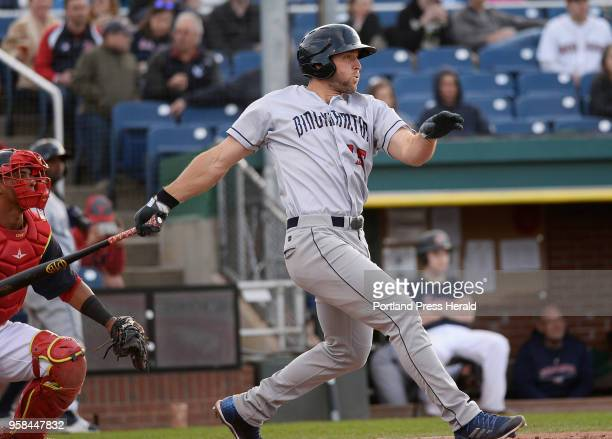 Binghamton's Tim Tebow hits a single against the Sea Dogs Friday, May 11, 2018.