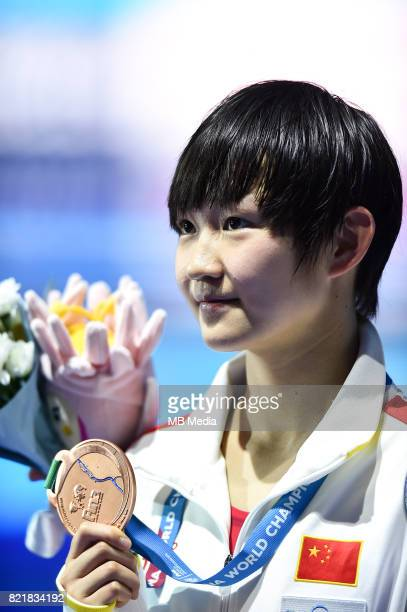 Bingjie Li during medal ceremony for the Women's 400m Freestyle Final of the Budapest 2017 FINA World Championships on July 23 2017 in Budapest...
