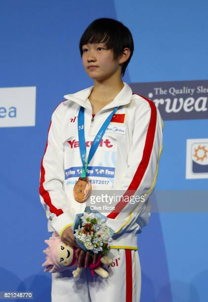 Bingjie Li of China celebrates winning Bronze following the Women's 400m Freestyle Final on day ten of the Budapest 2017 FINA World Championships on...