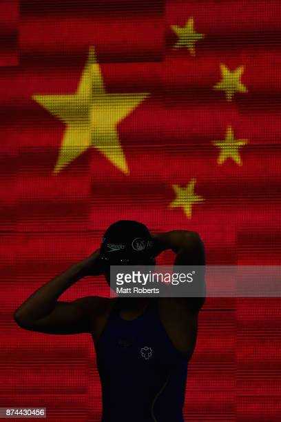 Bingjie Li of China competes in the Women's 400m Freestyle Final during day two of the FINA Swimming World Cup at Tokyo Tatsumi International...