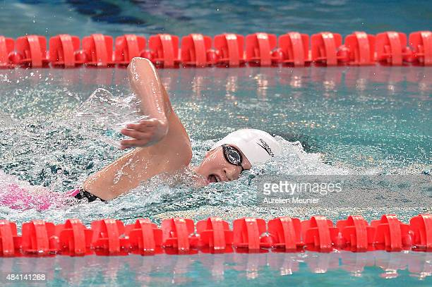 Bingjie Li of China competes in the Women's 800m Freestyle Finals on day one of the FINA Swimming World Cup 2015 the on August 15 2015 in Chartres...