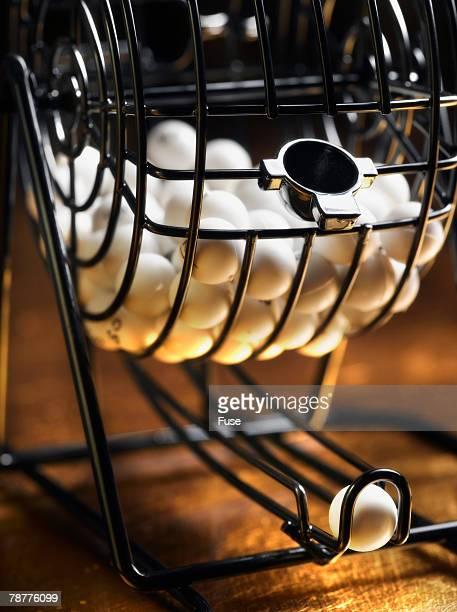 Bingo Balls in Spinner Basket